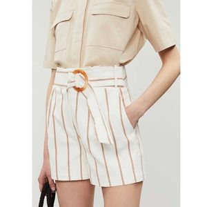 Topshop | Striped Streach High Rise Belted Shorts